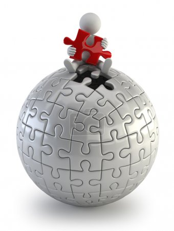 3d small - red puzzle sphere