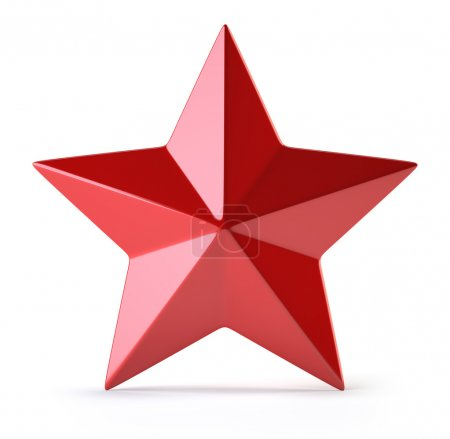 3d Red star isolated on white background...