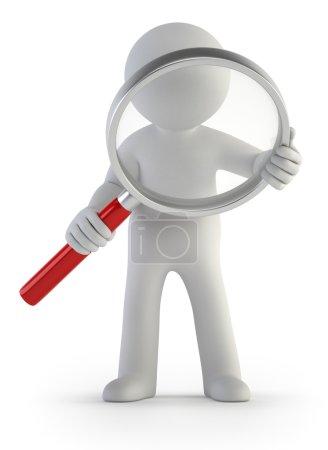 Photo pour Un petit homme avec une loupe à la main, isolé fond blanc - image libre de droit