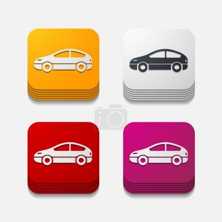 Photo pour Bouton carré : voiture - image libre de droit