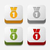 čtvercové tlačítko: medaile