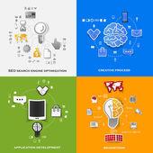 Set of modern stickers. Concept of search engine optimization, creative process, application development, brainstorm. Vector eps10 illustration