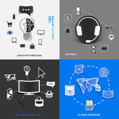 Set of modern stickers. Concept of creative process, support, digital marketing, global business. Vector eps10 illustration