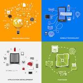 Set of modern stickers. Concept of online education, mobile technology, application development, partners. Vector eps10 illustration