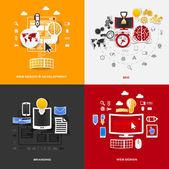 Set of modern stickers. Concept of web design & development, seo, branding, web design. Vector eps10 illustration