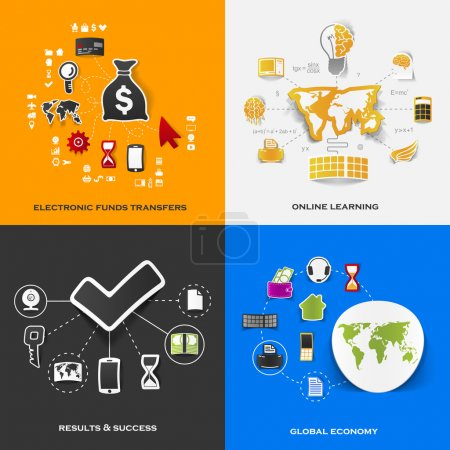 Set of modern stickers. Concept of electronic funds transfers, online learning, results & success, global economy. Vector eps10 illustration