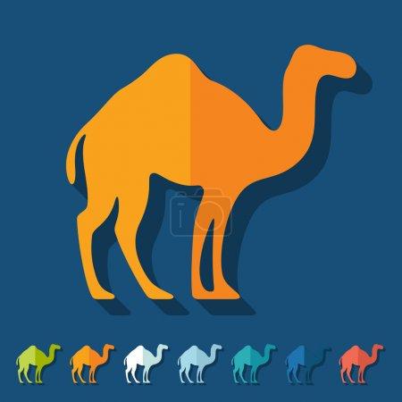 Illustration pour Design plat : ensemble d'icônes de chameau - image libre de droit