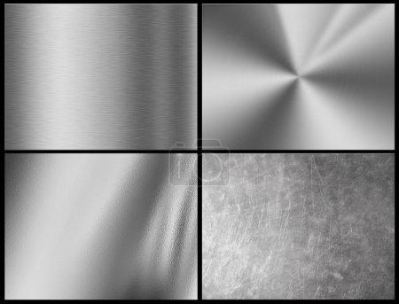 fond métal argenté, texture chromée