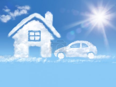 Photo for House nd car of clouds a in the blue sky and shining sun - Royalty Free Image
