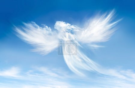 Angel on blue sky in the clouds...