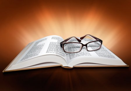 Open Bible, with glasses