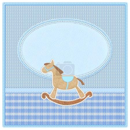 Photo pour Nouvelle carte d'invitation de douche pour bébé garçon. Effet tricot réaliste et tricot tekstures . - image libre de droit