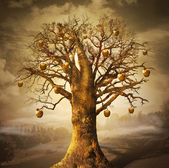 Magic tree with golden apples.