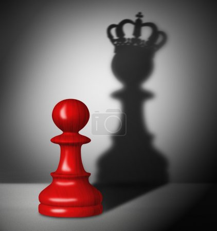 Red chess pawn with the shadow of a king....