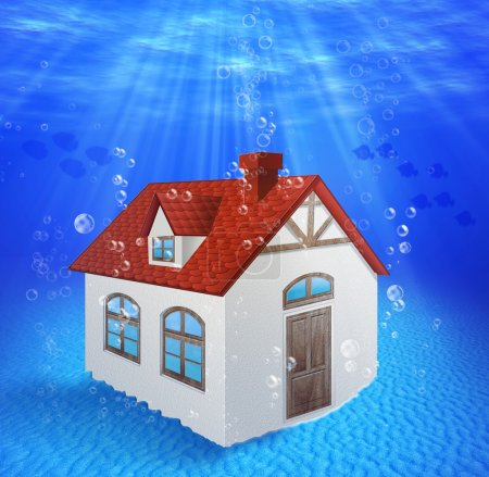 Sunk, underwater house.