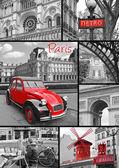 Koláž Paříž nejznámějších památek a památek