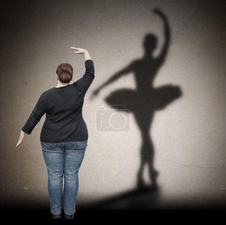 Fat woman dreaming of a slim silhouette like a ballerina.