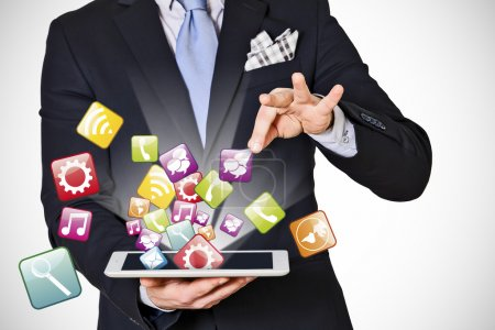 business man which extracts digital icons