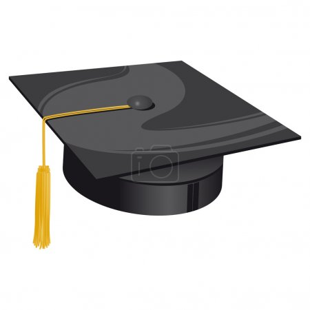 Illustration for Traditional university black hat with golden bow - Royalty Free Image