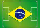 Soccer field brazil flag vector illustration