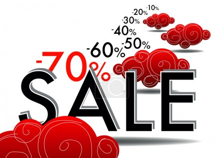 Illustration for Summer sales with red coud and numer - Royalty Free Image