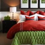 Modern, warm, inviting bedroom or hotel room....
