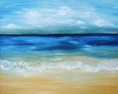 """Постер, картина, фотообои """"Актуальные теплое море и пляж. живопись маслом на холсте."""""""