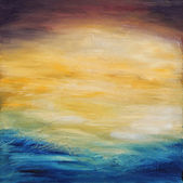 """Постер, картина, фотообои """"Аннотация вода закат. Живопись маслом на холсте."""""""