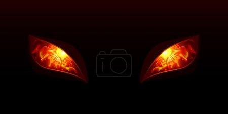Illustration pour Illusion vectorielle des yeux lumineux - image libre de droit