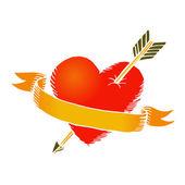 Retro heart with ribbon