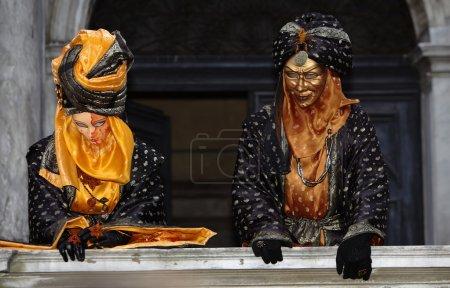 Couple on Balcony Venice Carnival