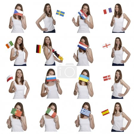 Woman shows european flags