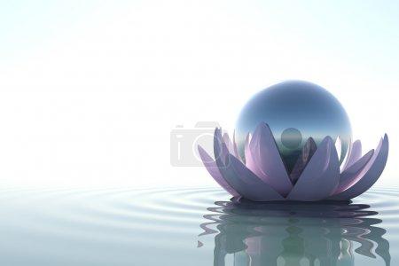 Photo pour Zen fleur loto avec sphère dans de l'eau sur fond blanc - image libre de droit