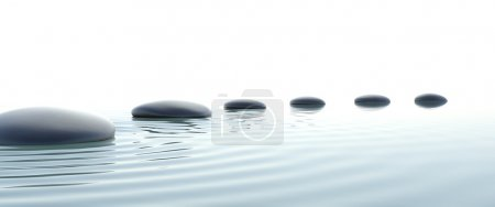 Zen stones in water on widescreen with white backg...