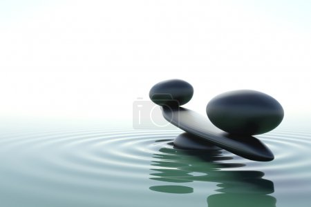 Photo pour Un équilibre de pierres zen dans une eau zen sur fond blanc - image libre de droit