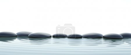 Zen stones in water on widescreen