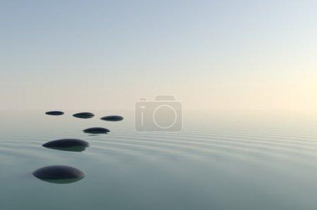 Photo pour Pierres zen dans l'eau - image libre de droit