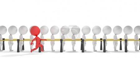 3d smart red man jumps the queue