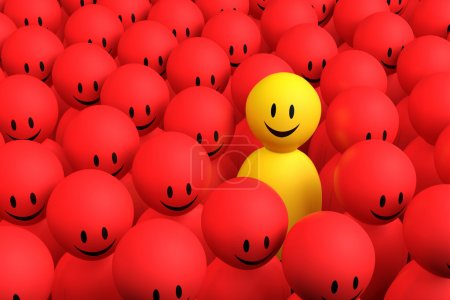 Photo for A 3d yellow character comes out from a red crowd - Royalty Free Image