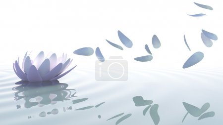 Zen lotus with petals moved by wind