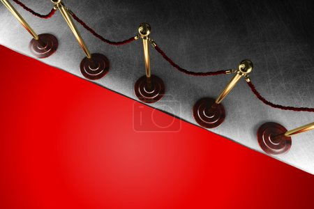 Photo for A velvet rope barrier with big red carpet in top view - Royalty Free Image
