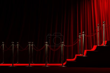Photo for Staircase for fame on red curtain background - Royalty Free Image