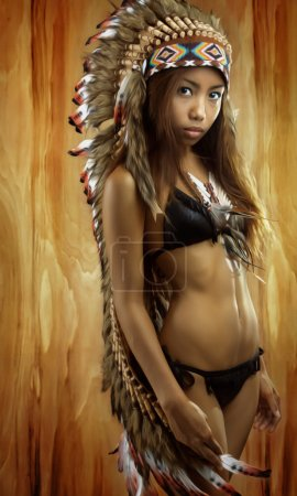 Native american, Indians in traditional dress, standing in profile, American indian Girl, background made of wood