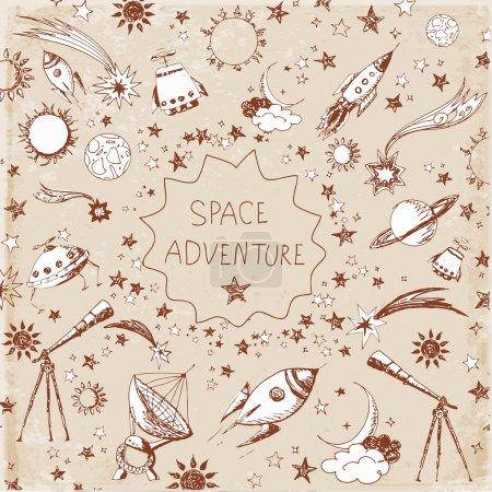 Photo pour Carte avec objets spatiaux : étoiles, fusées, planètes, lune, soleil etc. Dessiné à la main avec de l'encre dans un style vintage. Illustration vectorielle - image libre de droit