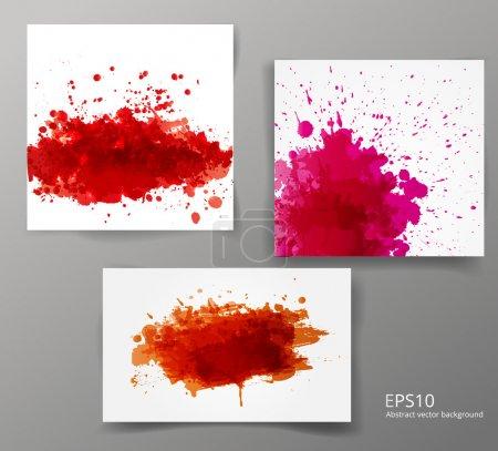 Illustration for Set of backgrounds with big red splashes. Vector illustration. - Royalty Free Image