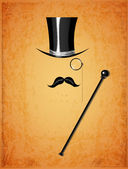 Cylinder moustache monocle and cane