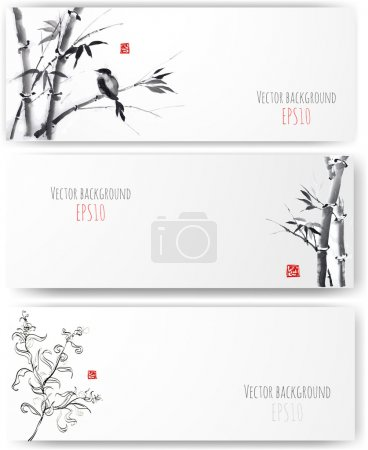 Illustration for Banners with bamboo, willow and bird in sumi-e style. Vector illustration. Traditional Japanese painting. Hand-drawn with ink. - Royalty Free Image