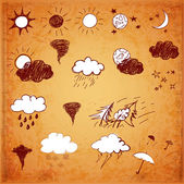 Weather icons set Hand drawn sketch illustration in vintage style Vector illustration
