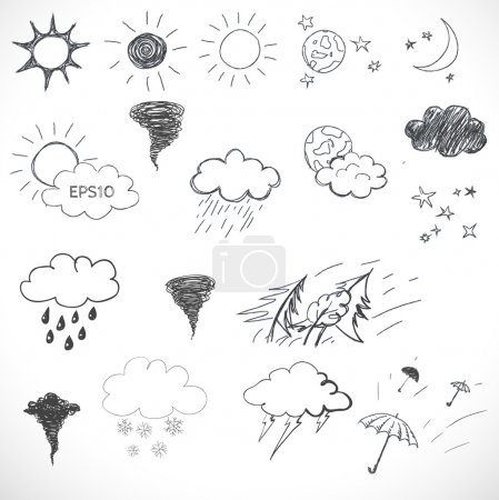 Illustration for Weather icons set. Hand drawn sketch illustration isolated on white background - Royalty Free Image