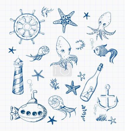 Photo pour Ensemble d'objets de croquis marins - image libre de droit